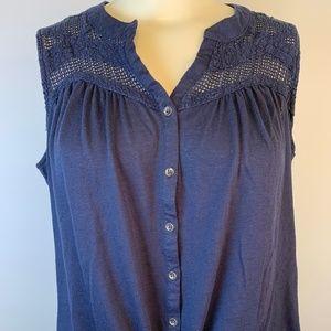 Blue Sleeveless Button front Top Bottom tie